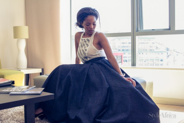 Terry wears a Lara Klawikowski top and David Tlale skirt